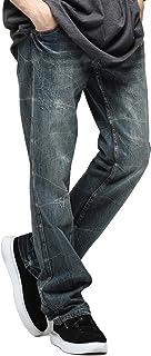 [ジギーズショップ] ワインレッドステッチデニムパンツ メンズ ヴィンテージ加工 ジーンズ ストレート