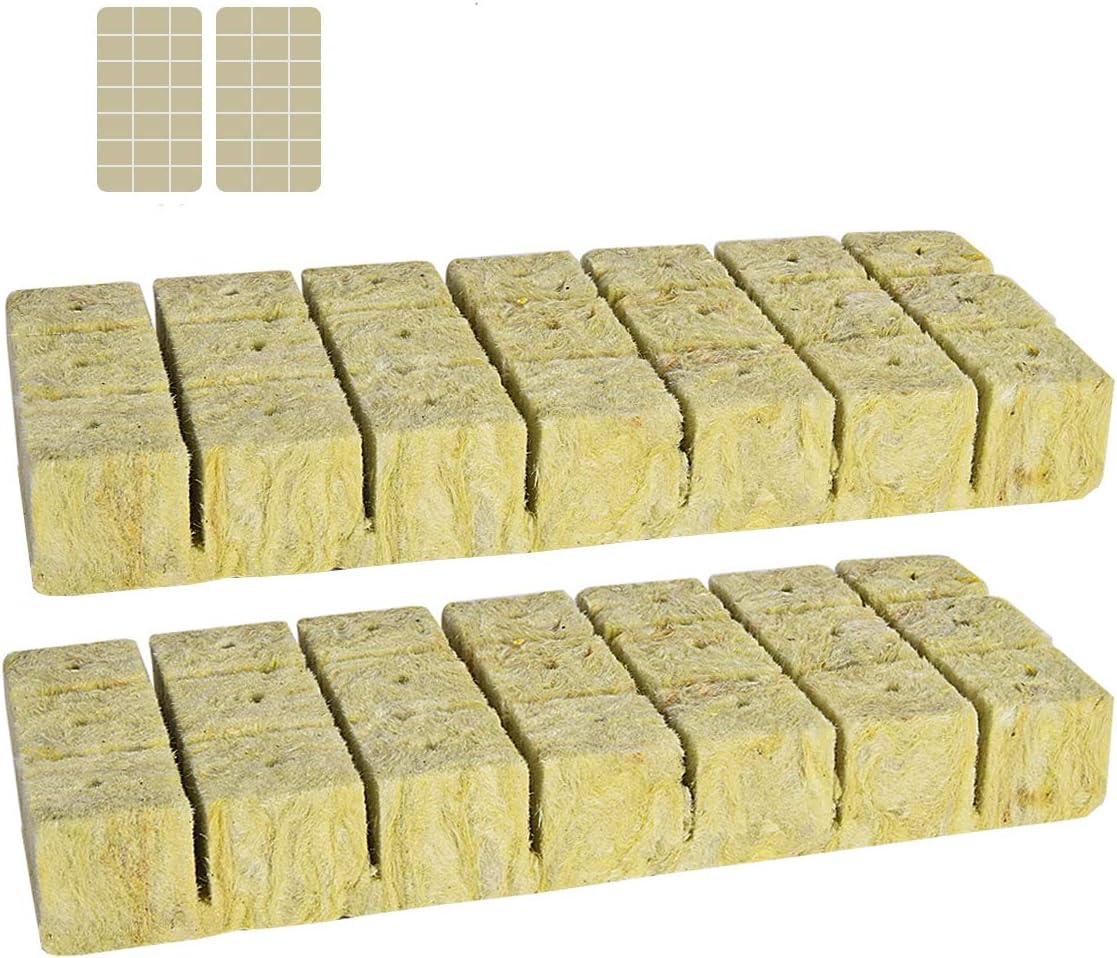 "YSBER 1.5"" Rockwool Starter Plugs, Rockwool Planting Grow Cubes for Hydroponics (42 Plugs)"
