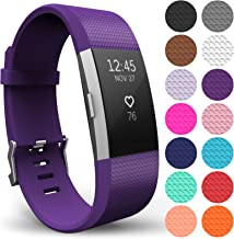 Yousave Accessories for Fitbit Charge 2 Band, Replacement Wristband Silicone Sport Strap for The Fitbit Charge 2 - Available in 14 Colours (Large, Plum)
