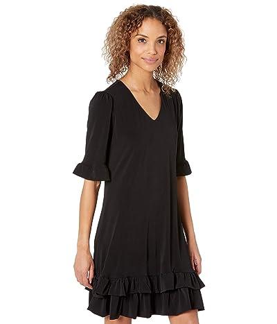 CeCe Short Sleeve Ruffled V-Neck Knit Dress