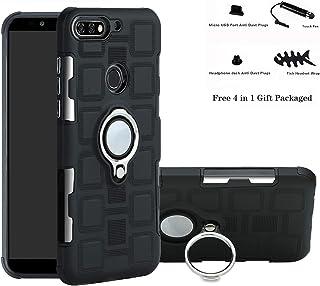 Labanema Huawei Y7 2018 Funda, 360 Rotating Ring Grip Stand Holder Capa TPU + PC Shockproof Anti-rasguños teléfono Caso protección Cáscara Cover para Huawei Y7 2018 / Honor 7C / Enjoy 8 - Negro