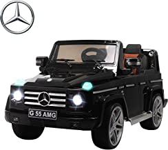 Uenjoy Mercedes Benz AMG G55 12V Kids Electric Ride On Car, Battery Power Motorized SUV, Shiny Baked Paint,Leather Seat, Remote Control, Eva Wheels,Suspension,Lights, AUX in, Music,Black