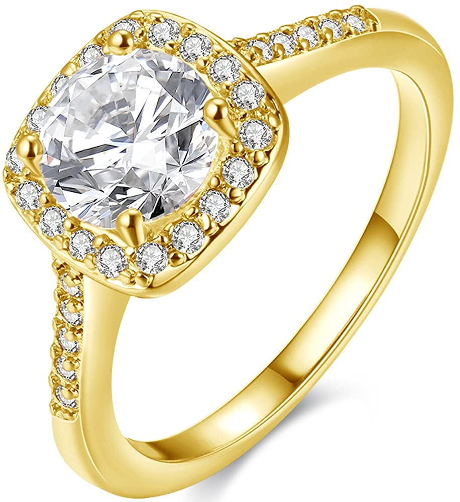 BEMI Classic 18K Gold Plated Austria Crystal Square AAA Zircon Wedding Band Statement Rings for Woman