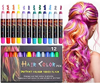 XIMU 12 Color Hair Chalk, Temporary Hair Chalk Crayon Pens Salon Washable Hair Color Dye Safe for Makeup Kit Christmas Party Birthday Gift for Girls Teen Kids Adult