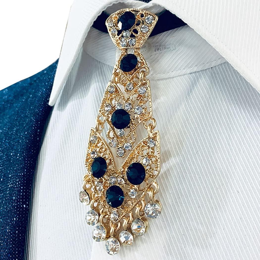 Outgeek Men Necktie Rhinestone Small Sparkling Classic Fashion Luxury Decorative Party Necktie Formal Anniversary