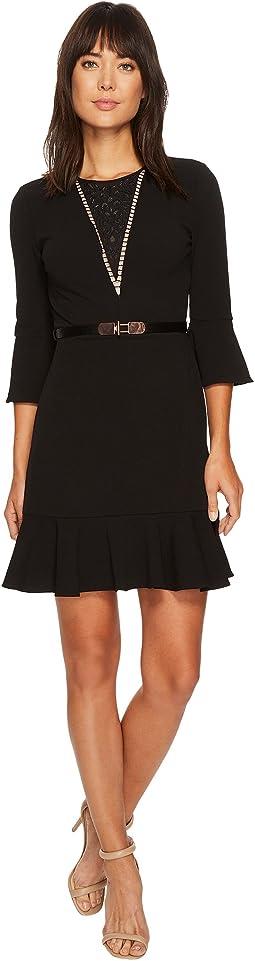 Ivanka Trump - Scuba Crepe Flutter Sleeve Belted Dress