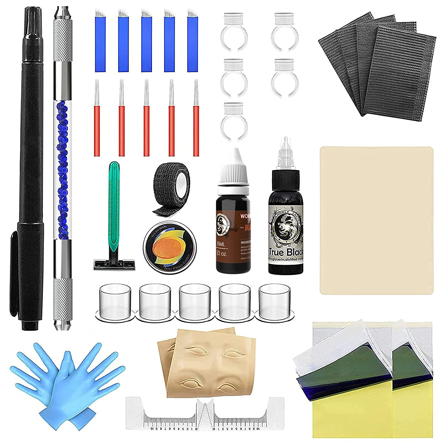 Wormhole Tattoo Stick and Poke Kit Microblading Kit Tattoo Kit DIY Tattoo Kit Home Tattoo Kit with Ink Microblading Pen for Tattoo Supplies and Eyebrow TK095
