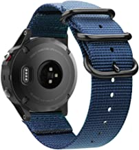 Fintie for Garmin Fenix 6 5 Band, Soft Woven Nylon Sport Strap Replacement Wristband for Garmin Fenix 6 Pro and Sapphire Edition/Fenix 5 / Forerunner 935 945 / Instinct Smart Watch, Navy Blue