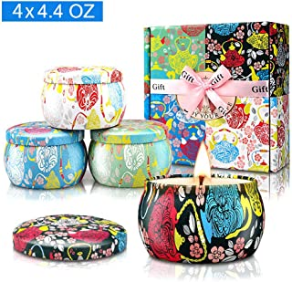 Yinuo Candle Potpourri Relax Deep Sleep Scented Candles, Gardenia, Lavender, Jasmine and Vanilla, Natural Soy Wax Portable Travel Tin Fragrance,Gifts for Women for Stress Relief and Aromatherapy