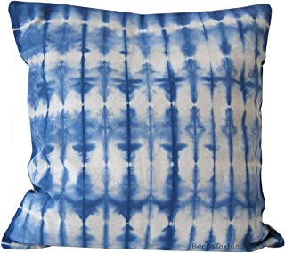 Cojín shibori azul de lino. Cojín 45 x45 cm. BeccaTextile
