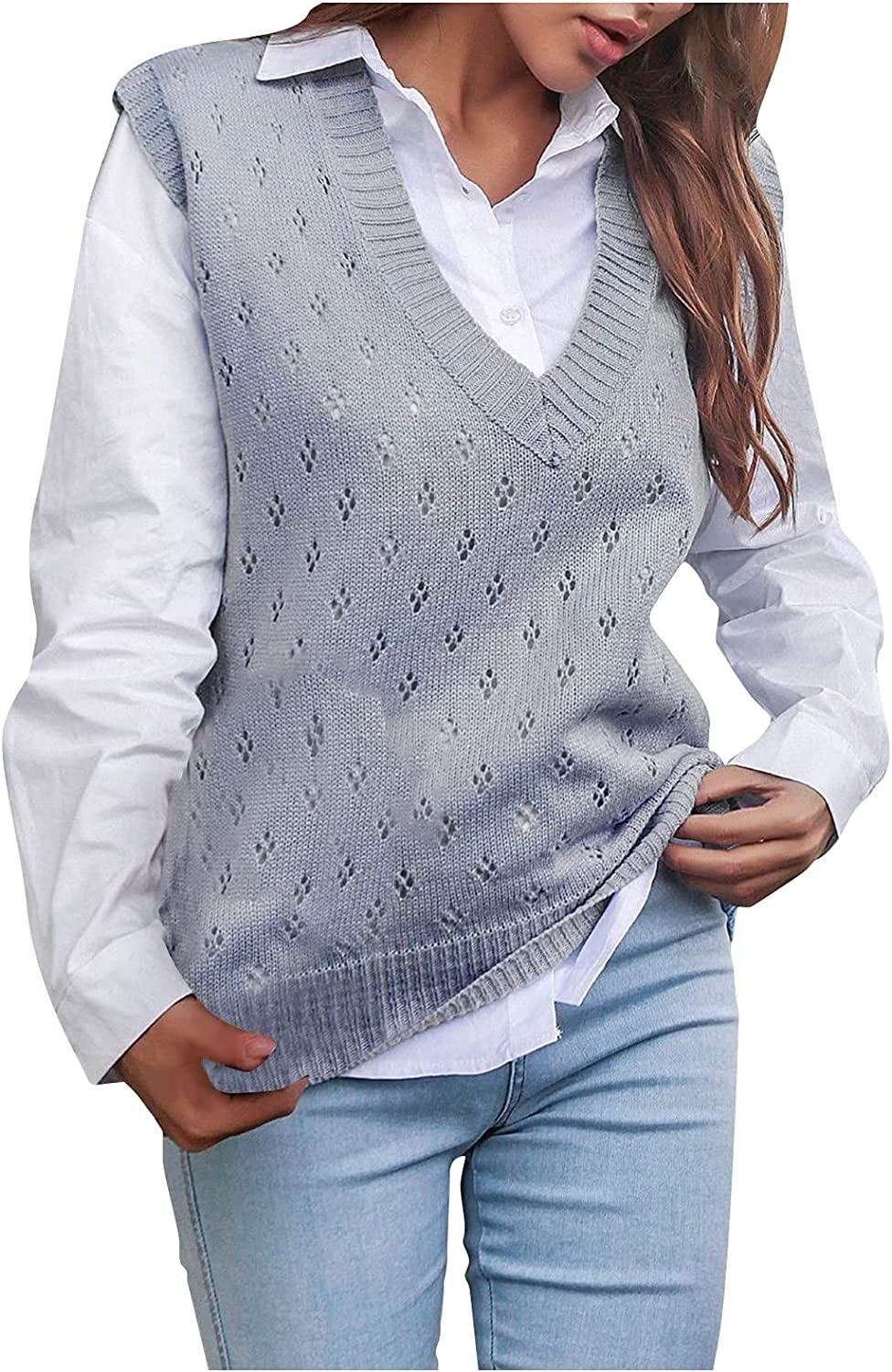 Sweater Vest Womens V-Neck Sleeveless Loose Top Fashion Solid color Casual Knitted Vest
