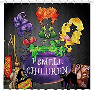 Allenjoy 72x72inch Halloween I Smell Children Shower Curtain for Bathroom Set Fall Autumn Witches Broom Home Bath Bathtub Decorations Durable Fabric Machine Washable with 12 Hooks