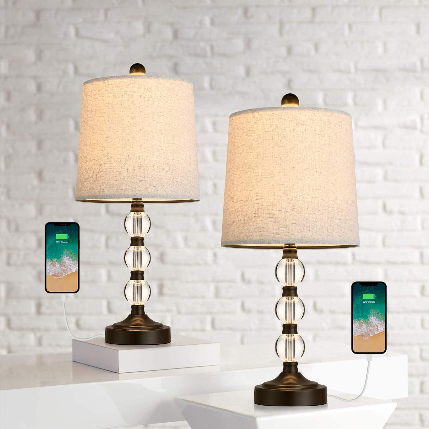 Oneach Modern USB New mail order Table Lamps Set of Room for S 2 Bedroom quality assurance Living