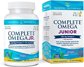 Nordic Naturals Complete Omega Jr, Lemon - 90 Mini Soft Gels - 283 mg Total Omega-3s & 35 mg GLA - Healthy Cognition, Nerv...