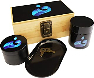 Blue Water Stash Box Combo - with 4 Part Herb Grinder Set with Magnetic Lid, UV Protected and Smell Proof Herb Jar, Rolling Tray and Padded Wooden Box with Lock and Keys