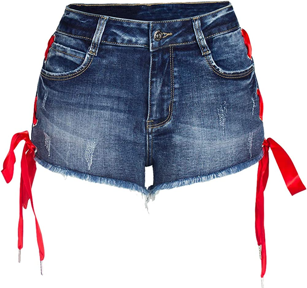 LIYT Women's Sexy Stretchy Bilateral Bind Denim Jean Shorts Cargo Hot Pant for Girl