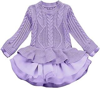 Tefamore Vestido para Niños Otoño e Invierno Navidad Conjunto Niñas Suéter de Punto Jerseys Crochet Tutu Vestido Tops Ropa