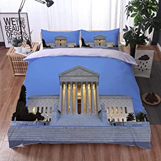 Bed Comforter - 3-Piece Duvet -All Season, Overview of United States Supreme Court Building,HypoallergenicDuvet-MachineWashable -Twin-Full-Queen-King-Home-Hotel -School