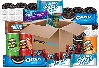Care Package (25 Count) FULL SIZE Oreo Cookies, Fruit Roll-ups, Rice Krispies Treats, Lifesavers, Pringles Snack Pack Cans: Mixed Variety Pack, College Students, Military, Individually Wrapped