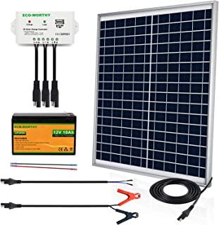 ECO-WORTHY 20W 30W 12V Off Grid Solar Panel SAE Connector Kit: Waterproof 30W Solar Panel + SAE Connection Cable +USB Cont...