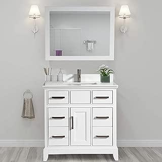 Vanity Art 36 Inch Single Sink Bathroom Vanity Set | Super White Phoenix Stone, Soft Closing Doors Undermount Rectangle Sinks with Free Mirror - VA1036-W