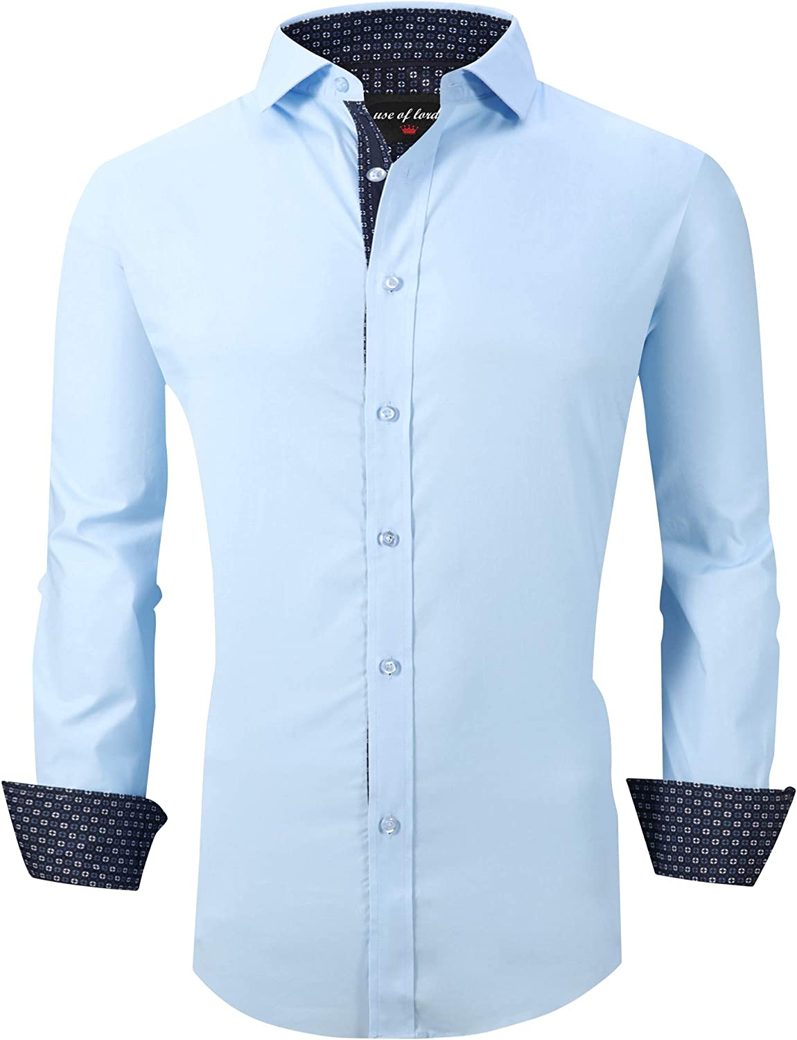 House Long-awaited of Lords Mens Dress Indefinitely Shirts Fit Long Casual Regular Sleeve