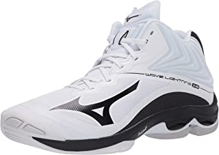 Mizuno Men's Wave Lightning Z6 Mid Volleyball Shoe, White/Black, 9 D US
