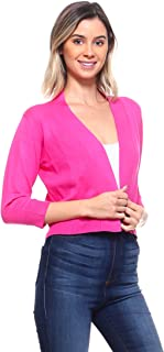 Women's Soft Solid Open Front 3/4 Sleeve Sweater Cardigan