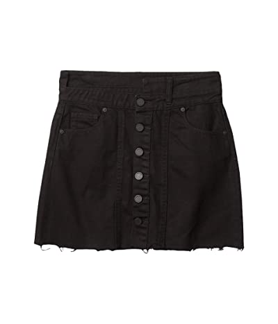 Blank NYC Asymmetrical Button Front A-Line Mini Black Skirt (Night Stroll) Women