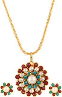 14 K Gold Plated Pachhi Simulated Pearl Flower Pendant Indian Necklace Earring Jewelry Set for Women Girls