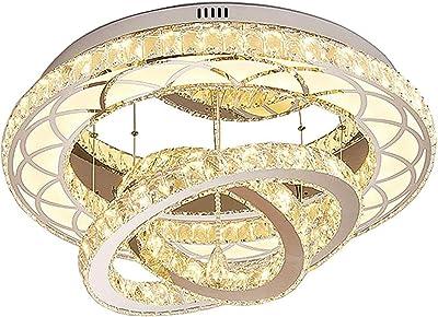 VIVITG Cristal Plafonniers, Moderne Créatif LED Dimmable Montage Encastré Rond Lumière des Etoiles Chambre Lampe à Suspension, pour Salon Accueil Décor,Warm Light,80cm
