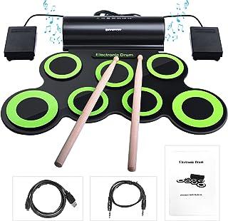 Batería Electrónica, Drum Set, bonrob Roll Up de batería Midi Drum Kit con auriculares y altavoces integrados Drum Pedals y baquetas, hasta 10St. Parte tiempo, regalo de Navidad para niños BM001
