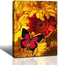 LoomArt Red Butterfly on yellow chrysanths flowers picture canvas print wall art nature Landscape Painting Modern Giclee printing walls decor Artwork for Home living room bathroom framed Panel 12
