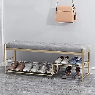 QDY Förvaringsbänk Metallram Skostativ med mjuk kudde Bekväm och andningsbar Stor kapacitet, för entré, vardagsrum, sovrum