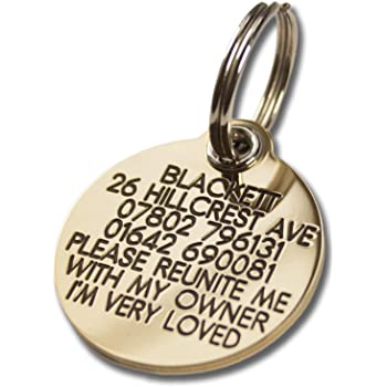 REINFORCED deeply engraved solid brass 33mm circular dog tag