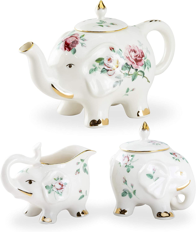 Grace Teaware Fine Porcelain Happy Tea Low outlet price Elephant Set 3-Piece Fl