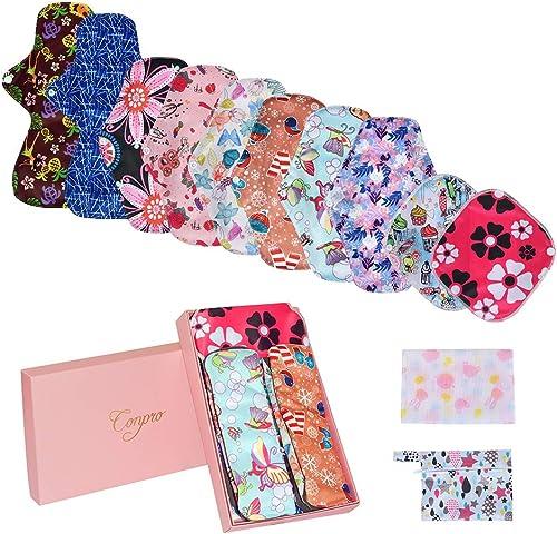 Conpro 10 Pcs Serviette Hygiénique Lavable, 21cm x 2, 26cm x 6, 33cm x 2, Pads Menstruel Chiffon, Serviette Menstruel...