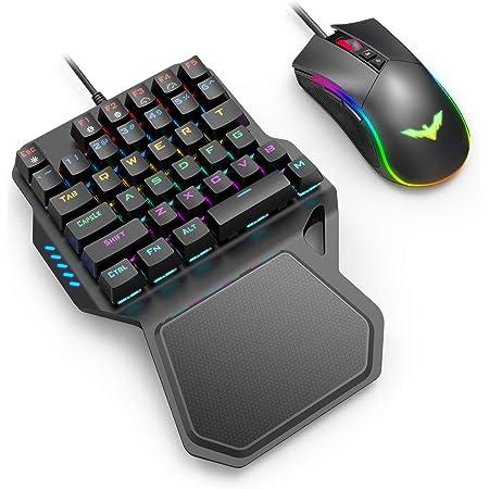 havit Teclados mecánico Gaming de una Mano y Ratón,Teclado Gaming con Azul Anti-Efecto Fantasma de 36 Teclas,Ratón Gaming programable con Cable, Negro