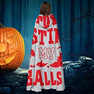 Christmas Baubles Stop Busting My Balls Unisex Christmas Halloween Witch Knight Hooded Robe Vampires Cape Cloak Cosplay Costume Black