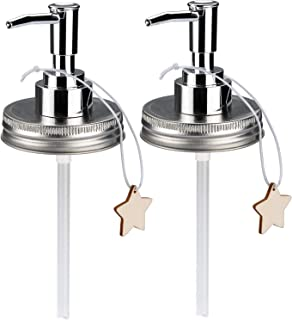 Sumille 2 Pack Mason Jar Soap Dispenser Lid Plastic Lid Dispenser for Any Regular Mouth Mason Jar Soap Dispenser Pump Replacement Set for Kitchen Bathroom Decor