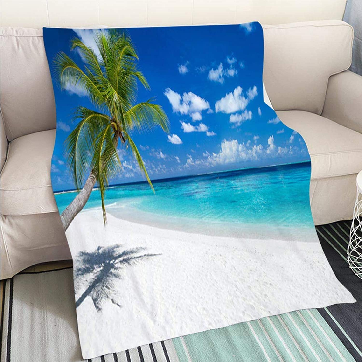 Comforter Multicolor Bed or Couch Coco Palm on Tropical Paradise Panorama Beach Hypoallergenic Blanket for Bed Couch Chair