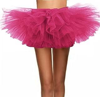 T-Crossworld Women's Classic 80s Adult Elastic Mini, Short Tulle Tutu Puffy Ballet Skirt