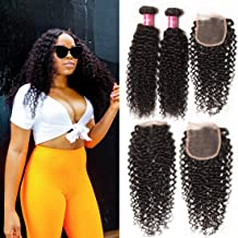 Dinoce Compatible with Longqi Beauty Brazilian Curly Virgin Human Hair Weave 3 Bundles with Free Part 4x4 Medium Brown Lace Top Closure Jerry Curl for Black Women (22 24 26+14, Natural Color)