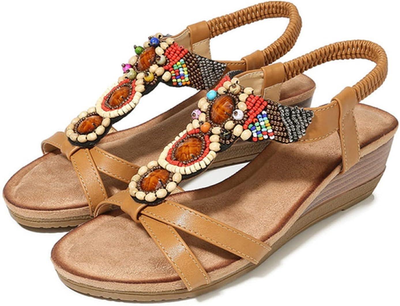 LYNLYN Sandals Comfortable Wedge Sandals Bohemian Ladies Sandals Ladies Sandals (Color : Apricot, Size : 4)