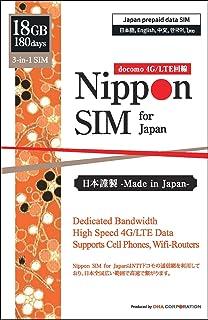 Nippon SIM for Japan 日本国内用 180日間 18GB 純正docomo 3-in-1 (標準/マイクロ/ナノ) データ通信専用 (音声&SMS非対応) SIMカード / ドコモ 4G / LTE回線 / Wifiルーター...