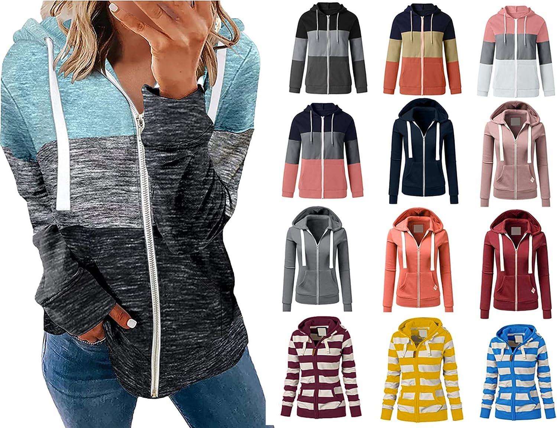 KINGOLDON Womens Sweatshirt Hooded Zipper Long Sleeve Sport Coat Patchwork Pullover Tunic Outwear