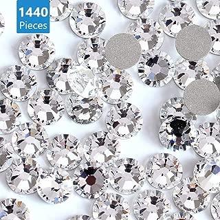 Onwon 1440 SS20 / 4.8mm Clear Crystal Flat Back Brilliant Round Rhinestones Glass Stones Glitter Gems Transparent Faux Diamond, Non Self-Adhesive (Clear)