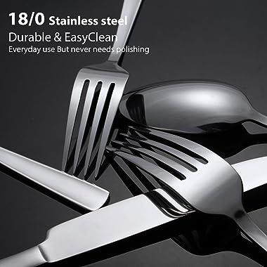 65 Piece Silverware Flatware Cutlery Set, Stainless Steel Fork Spoon Knife Sets for 12, Dishwasher Safe,Ergonomic Design Size