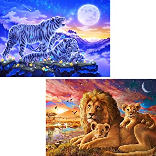 Yomiie 5D Diamond Painting Ambush of Tigers & Pride of Lions Full Drill by Number Kits for Adults, 2 Pack The Moonlight Beasts Paint with Diamonds Art Crystal Craft Home Decor (12x16inch)
