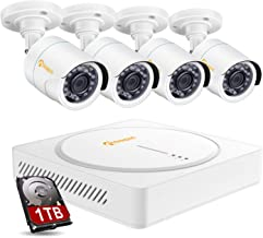 Anlapus 8IS-124W4-10-FBA 8CH CCTV Camera System 8 Channel 1080p CCTV DVR Recorder with 1TB Hard Drive and 4pcs 2.0MP HD Outdoor Indoor Waterproof Security Cameras for Homes Customize Motion Zone